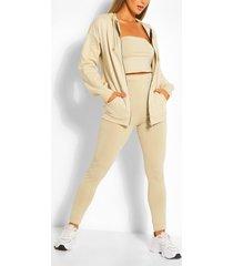 three piece hoodie legging and bandeau set, sand