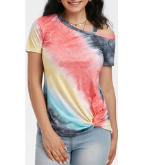 skew neck tie dye twisted hem t-shirt