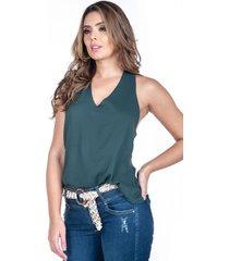 blusa verde con anudado atrás
