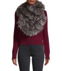 fox fur knit ruffle infinity scarf