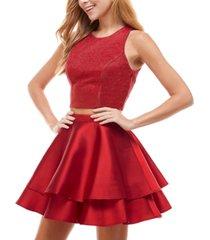 city studios juniors' 2-pc. shimmer-top fit & flare dress