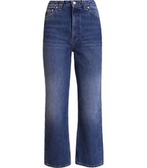 ganni washed denim high-waisted cropped jeans
