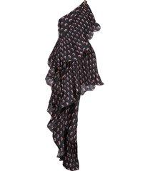 marine serre asymmetric hybrid flamenco dress - black