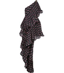 marine serre asymmetric hybrid flamenco dress - black