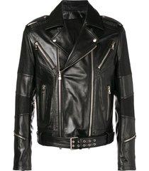 balmain ribbed biker jacket - black