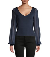 sheer-sleeve pullover top