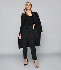 reiss stevie - asymmetric neckline bodysuit in black, womens, size xl
