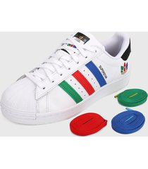 tenis lifestyle blanco-multicolor adidas originals superstar