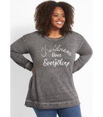 lane bryant women's kindness over everything graphic sweatshirt 38/40 black