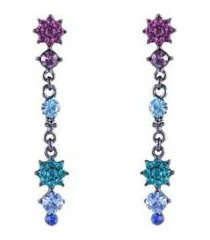 brinco armazem rr bijoux comprido cristais coloridos grafite - feminino