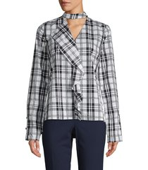 derek lam 10 crosby women's plaid cotton top - white black - size 2