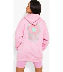 bloemenprint hoodie met rugopdruk, pale pink