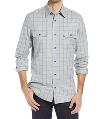 men's nordstrom stretch flannel button-up shirt, size small - grey