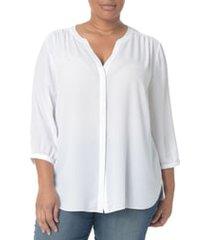 plus size women's nydj pintuck pleat crepe blouse, size 0x - white