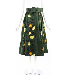 msgm green floral print belted pleated maxi skirt green/floral print sz: s