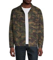 eleven paris men's camo print cotton jacket - khaki camo - size xl