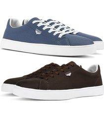 kit 2 pares de sapatãªnis skateboard sapatofran casual azul e cafã© - azul marinho - masculino - lona - dafiti