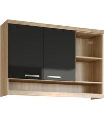 armário multimóveis sicília 120cm com nicho 5125 argila/preto