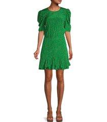 veronica beard women's lila print stretch-silk dress - green multi - size 10