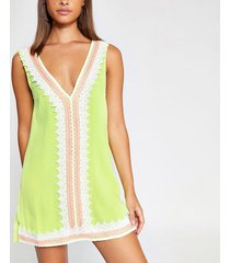river island womens neon green lace front beach dress