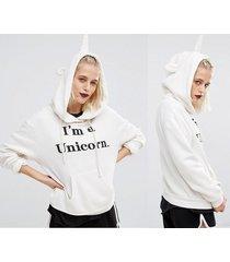 popular novelty cartoon unicorn sweatshirts girl's fashion winter hoodies