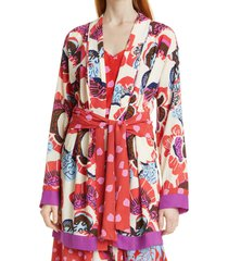 women's dvf april floral mix print tie waist jacket, size small - beige