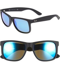 ray-ban youngster 54mm sunglasses - black/ green mirror/ blue