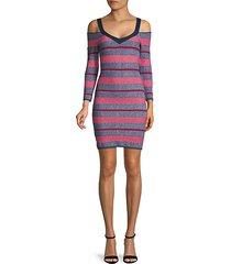 striped cotton-blend bodycon dress