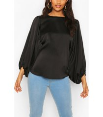 maternity drape sleeve satin top, black