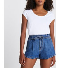 river island womens blue pull on tie waist denim shorts
