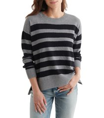 women's lucky brand textured cotton sweater, size xx-large - grey