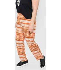 pantalón naranja minari fibrana batik plus size