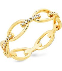 14k gold vermeil & crystal open chain link ring