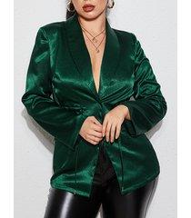 yoins blazer de manga larga verde con lazo diseño