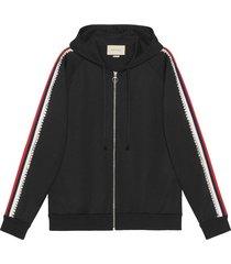 gucci crystal-embellished zipped hoodie - black