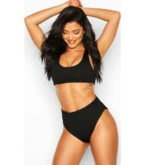 mix & match crinkle crop bikini top, black