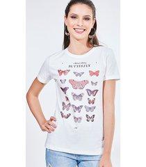 blusa manga curta estampa borboletas