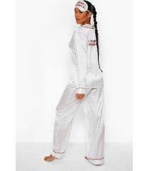 satijnen santa's sidechick pyjama en slaapmasker set, wit