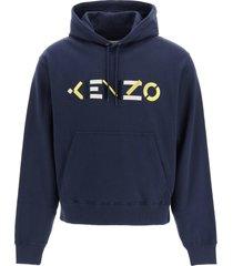 kenzo zip-up sweatshirt with tiger head patch