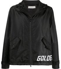 golden goose hooded logo print jacket - black
