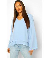 tall swing blouse met v-hals en dubbele lagen, blauw