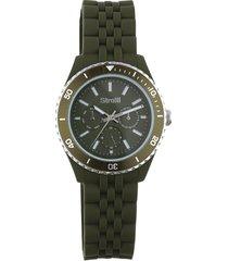 orologio so classy con cinturino in silicone, quadrante e ghiera verde militare per uomo