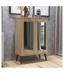 sapateira retrô completa móveis sp070oaoa 2 espelhos 3 prateleiras oak