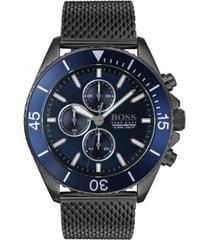 boss men's chronograph ocean edition gray stainless steel mesh bracelet watch 46mm