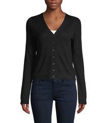 vince women's button-front wool-blend cardigan - chiffon - size l