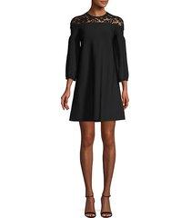 lace shoulder shift dress