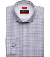 awearness kenneth cole awear-tech plum plaid slim fit dress shirt