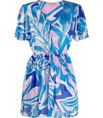 emilio pucci printed short beach dress - blue