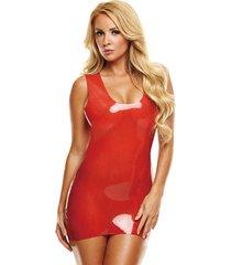 latex mini jurkje - rood