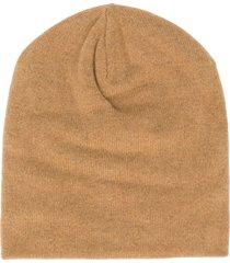 ma'ry'ya fine ribbed knit beanie hat - brown